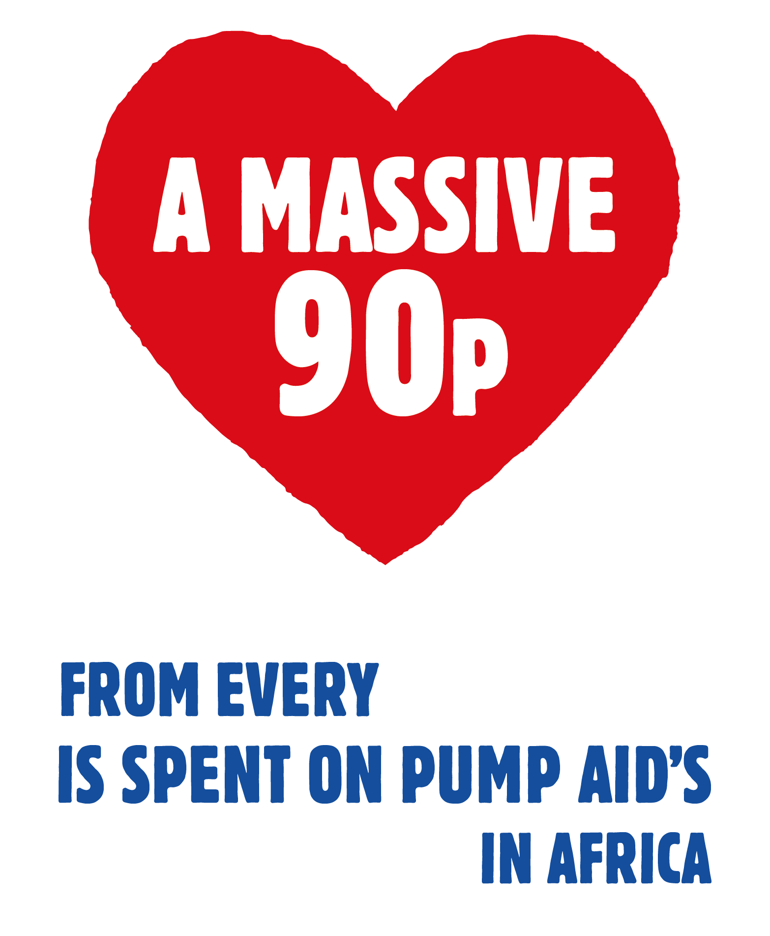 A massive 90p from every £1 donated is spent on Pump Aid's direct delivery in Africa